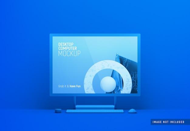 デスクトップコンピューター表面スタジオフロントビュー粘土モックアップ