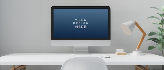 Desktop computer with mockup screen