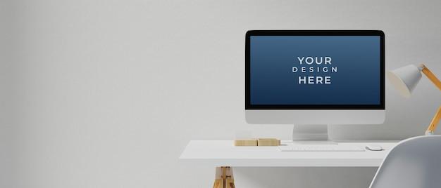 모형 화면이있는 데스크탑 컴퓨터