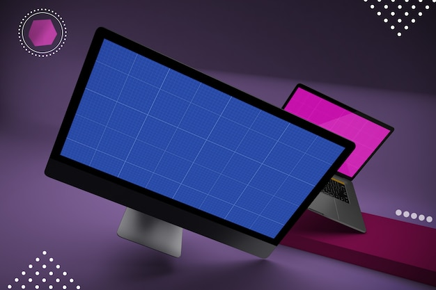 Desktop computer with mockup screen