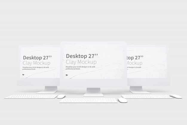 Desktop computers mockup with keyboard and mouse