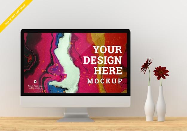 Desktop device mockup screen design. template psd.