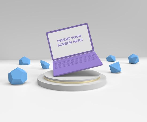 デスクトップラップトップ広告ディスプレイモックアップシーン