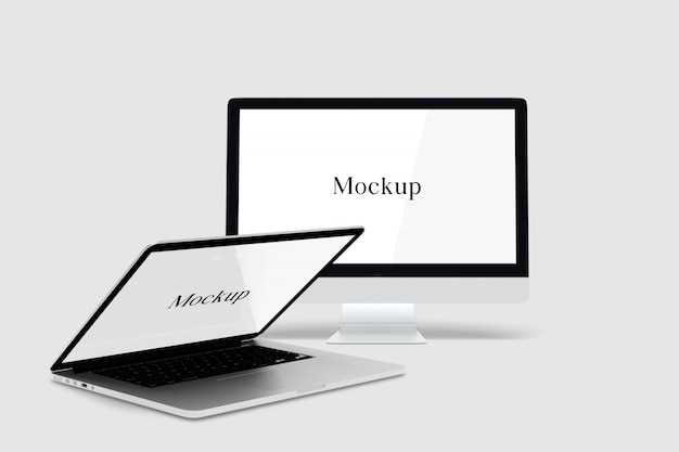 Desktop and laptop mockup