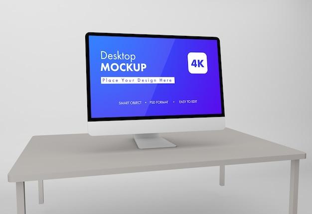 Desktop mockup design in 3d rendering