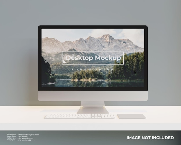 Desktop mockup front view