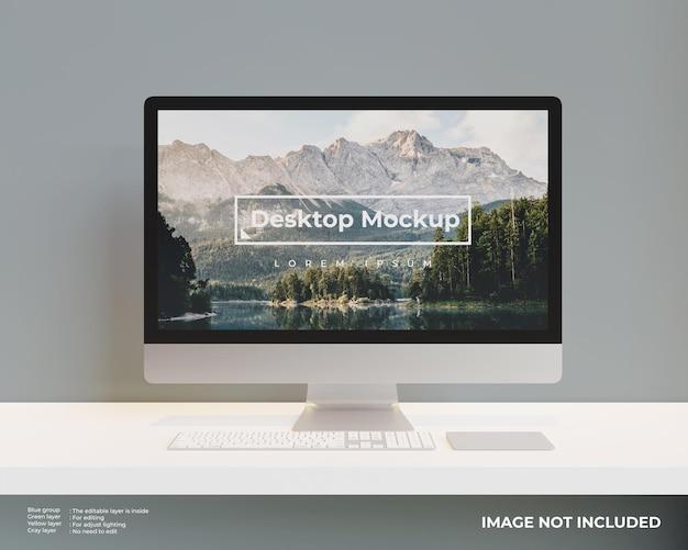 Vista frontale del mockup del desktop