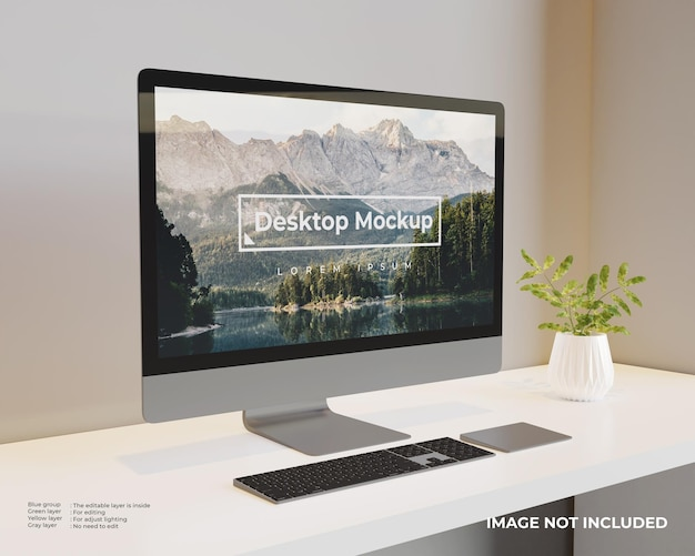 Vista da sinistra del mockup del desktop