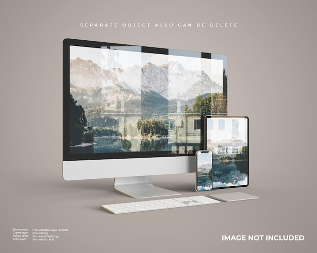 Desktop mockup with tablet and smartphone left
