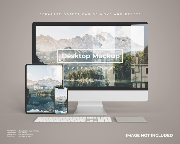 Desktop mockup with tablet and smartphone looks front view