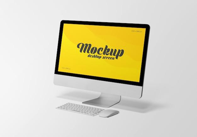 分離されたコンピューター画面モックアップのデスクトップ