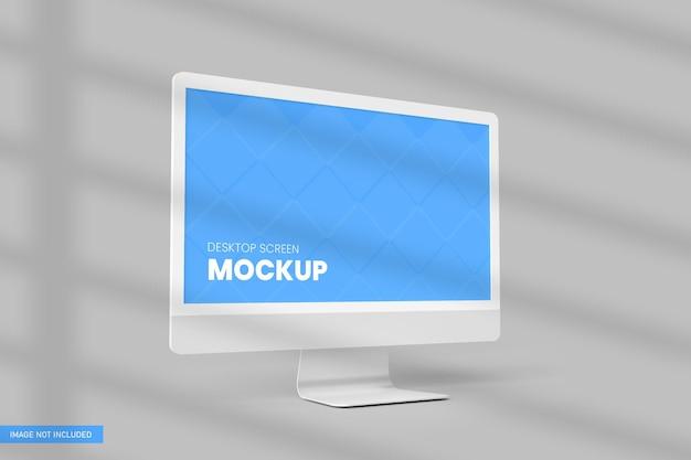 Desktop screen mockup white backgroun in 3d rendering