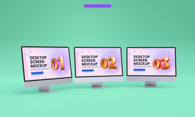 デスクトップ画面のモックアッププレミアム