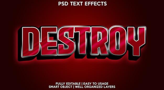 Destroy text effect template