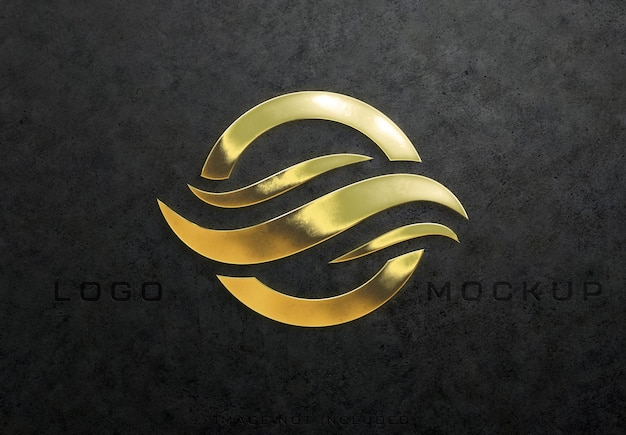 Detailed textured 3d glossy gold logo sign mockup