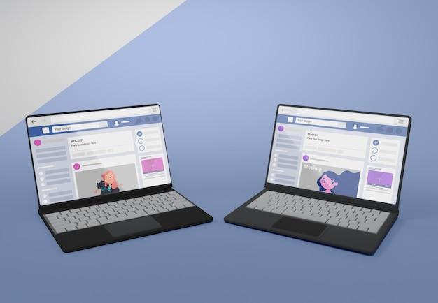 ソーシャルメディアプラットフォームのモックアップを備えたデバイス