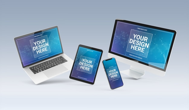 Devices floating on grey background mockup