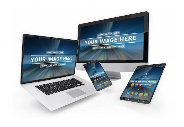 画面モックアップ、ラップトップ、スマートフォン、コンピューター、タブレットでフローティングするデバイス
