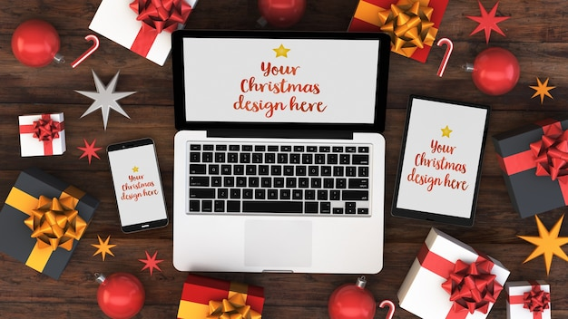 Devices mockup with christmas decorations