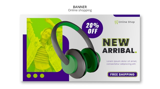 Devices online shop horizontal banner template new arrival