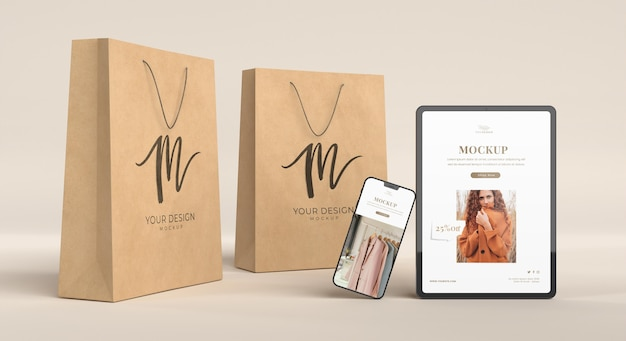Devices and paper bags arrangement mockup