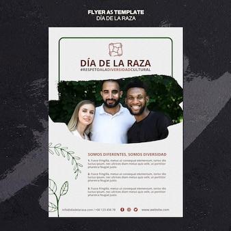 Dia de la raza flyer template with photo
