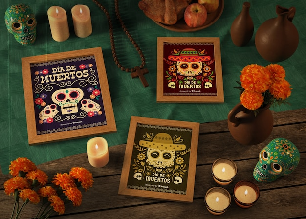 Dia de muertos diversity mock-ups with flowers and candles