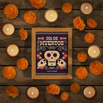 Dia de muertos mock-up surrounded by flowers and candles