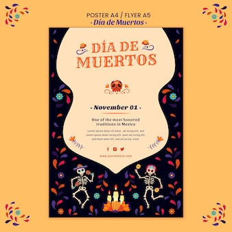 Dia de muertos poster print template