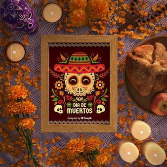 Dia de muertos skulls with sombrero flat lay