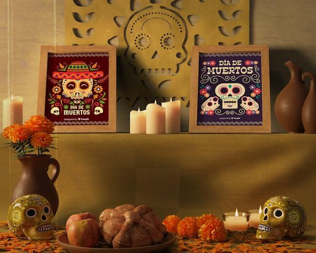 Dia de muertos traditional mexican floral skulls front view