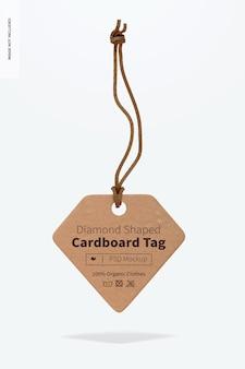 Мокап картонной бирки в форме ромба