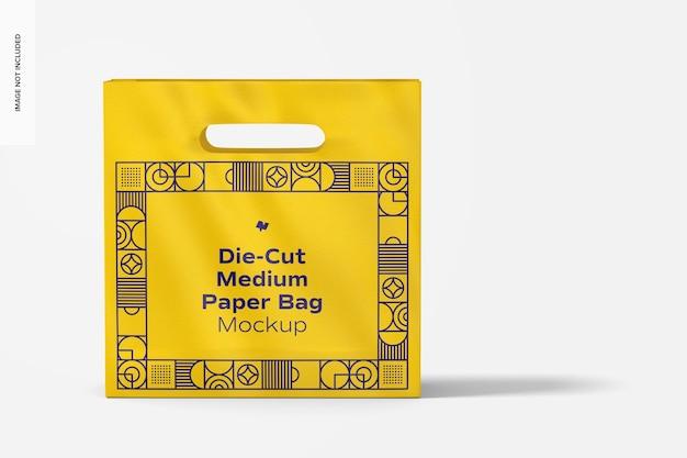 Die-cut medium paper bag mockup, front view