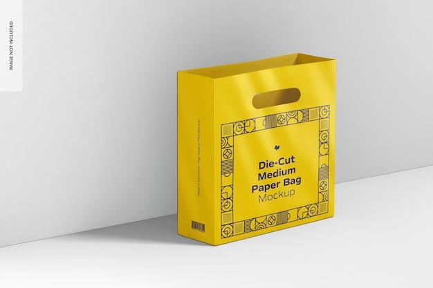 Die-cut medium paper bag mockup, perspective view