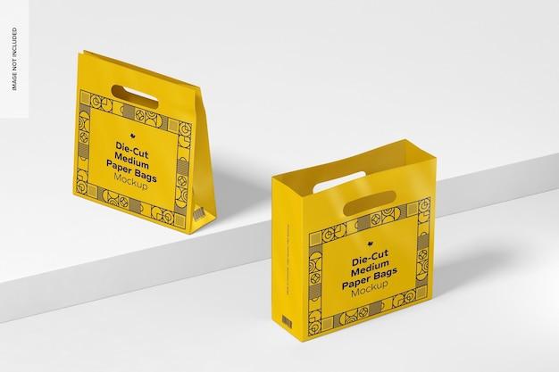 Мокап высеченных средних бумажных пакетов, открытые и закрытые