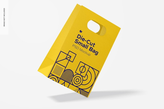 Die-cut small paper bag mockup, flotando