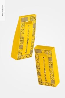 Die-cut tall paper bags mockup, floating