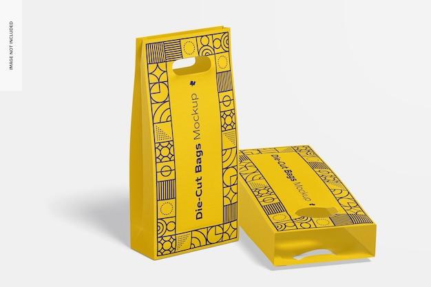 Die-cut tall paper bags mockup