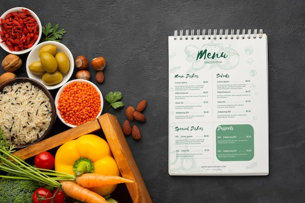 Diet menu idea with veggies in a basket and spices