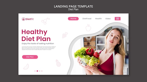 Diet plan landing page template