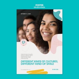 Разная культура, одинаковый шаблон плаката улыбки