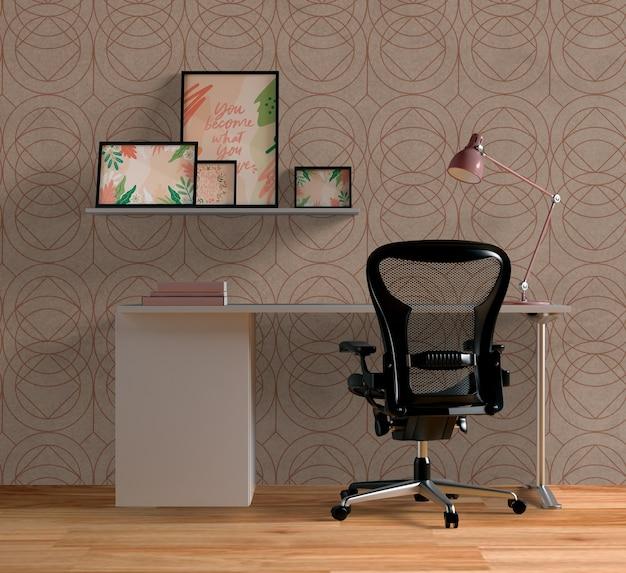 Different frames mock-up above desk