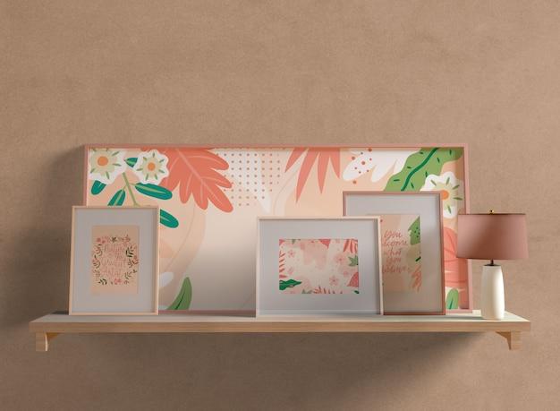 Different frames mock-up on shelf