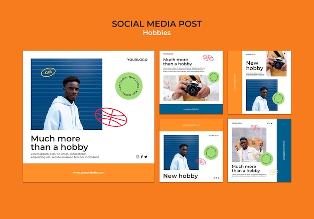Different hobbies social media post