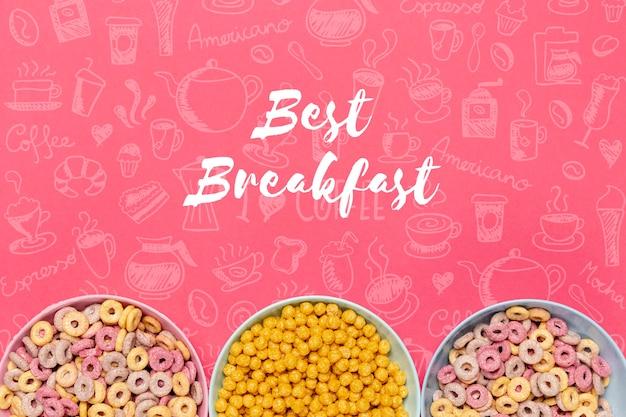 朝食にさまざまな種類のシリアル
