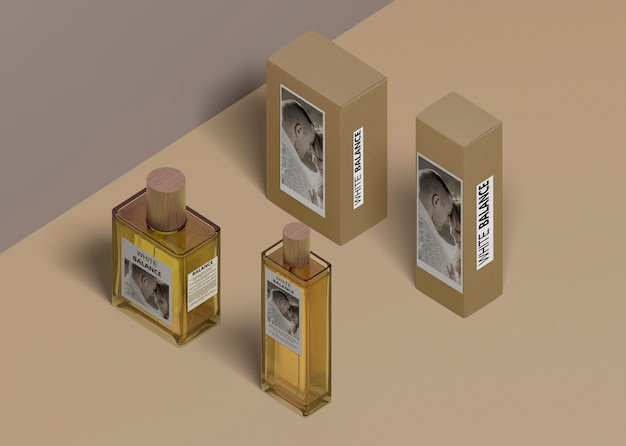 Different shape bottles of perfume