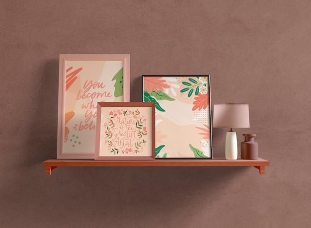 Different sized frames mock-up on shelf