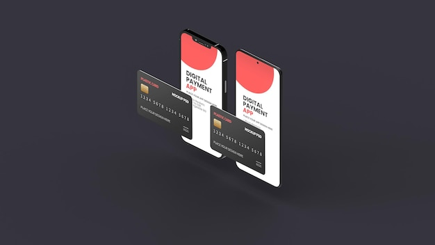 Different smartphone with plastic card mockup