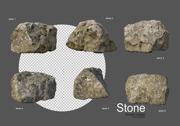 다양한 모양의 다양한 유형의 돌