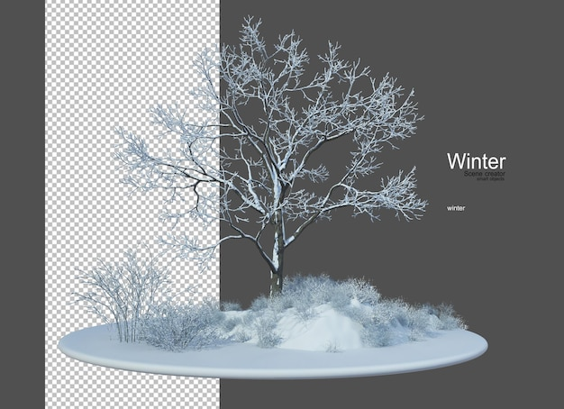 冬のさまざまな種類の木